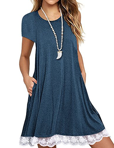 b84edd654f12d Angielucky Women s Short Sleeve Lace Tunic Dress Summer T-Shirt Dress With  Pockets Large